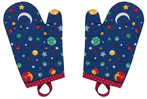 Handstand Kitchen Child's 100% Cotton Shell 'Stars and Planets' Pair of Oven Mitts by Handstand Kitchen