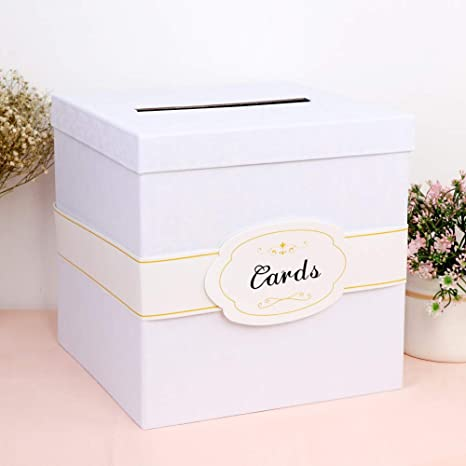 Ourwarm White Wedding Card Box With Cards Label Large Size Money Box Card Box For Wedding Reception Gift Card Box For Birthday Party Baby Shower