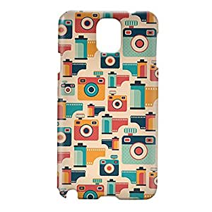 Loud Universe Samsung Galaxy Note 3 3D Wrap Around Retro Pattern Photographer Camera Print Cover - Multi Color