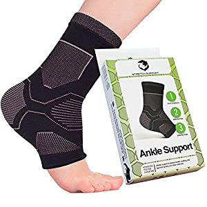 Stretch Support Ankle Compression Socks for Foot Pain Relief, Black Athletic Sleeve Supports Achilles Tendon with Heel/Arch Support, Elastic Open Toe Brace Knitted for Increased Breathability