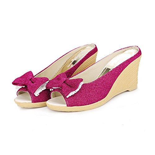 BalaMasa Ladies Bows Wedges Peep-Toe Urethane Platforms Sandals Rosered rt8yQYe