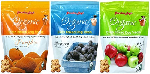 Baked Treats - GRANDMA LUCY'S Organic Baked Treat for Dogs, Mixed 3 Packs x 14 Oz - Apple, Pumpkin and Blueberry Flavors