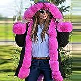 Ulanda Women Faux Fur Thicken Warm Winter Coat Hood Parka Overcoat Long Jacket Outwear