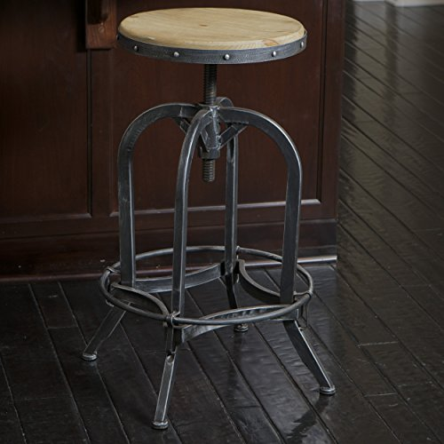 Great Deal Furniture Dempsey | Rustic Industrial | Distressed Metal | Swivel Adjustable | Bar Stool (Wood Seat) by Great Deal Furniture