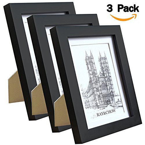 RAY&CHOW 5x7 Black Picture Frame - Solid Wood - GLASS window