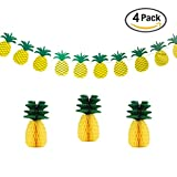 Pineapple Banner and Pineapple Honeycomb Hanging Decor Summer Party Hawaiian Party Decorations, Pack of 4