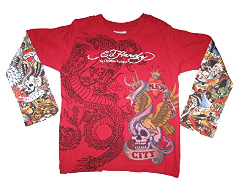 Ed Hardy Baby New York City Tattoo Swarovski Crystal Dbl Push up Seeve T Shirt (18/24 months) ()