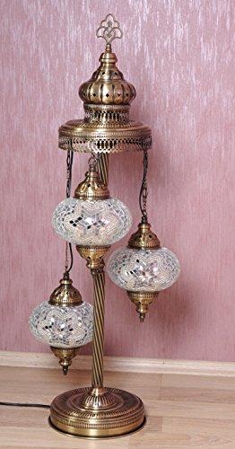 Turkish Moroccan Mosaic Glass Handmade Tiffany Floor Lamp Light, 29.5″ (Snow White)