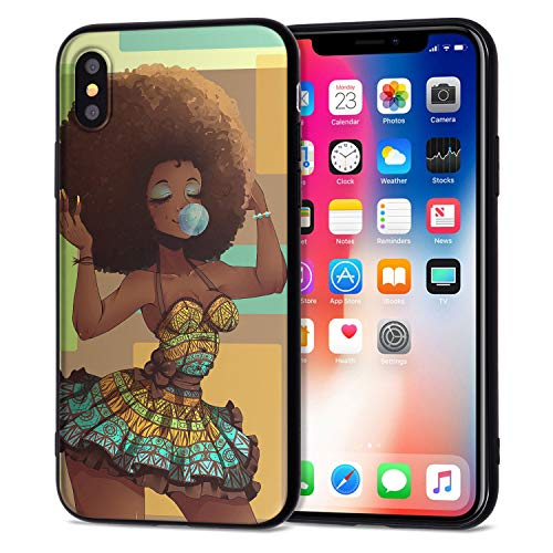 iPhone XR Case African American Afro Girls Women Slim Fit Shockproof Bumper Cheap Cell Phone Accessories Thin Soft Black…