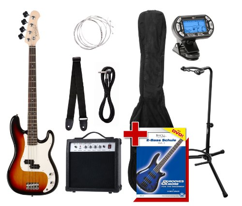 Rocktile Groover's Pack PB E-Bass Set III Sunburst + Cliptuner+ Gitarrenständer