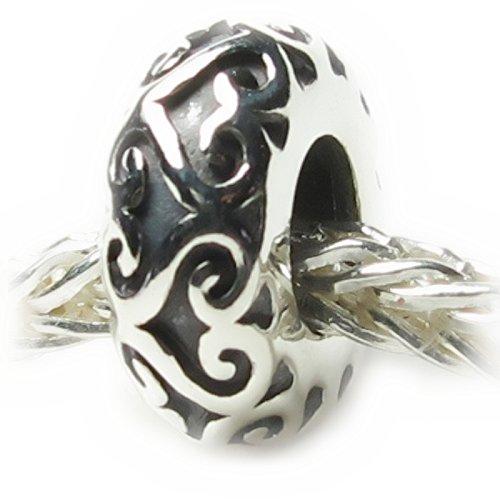 Beads Hunter Jewelry Heart Lattice Work Heart Bead Spacer .925 Sterling Silver European Style Bead Charm ()