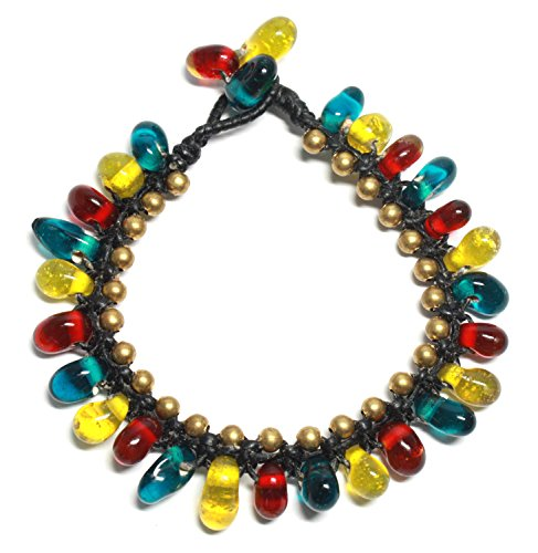[Bijoux De Ja Handmade Multicolored Teardrop Grass Beads Strand Bracelet 7.5 Inchhes] (Lion Costume Philippines)