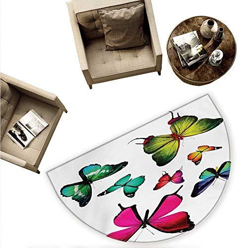 Butterflies Half Round Door mats Butterflies Flying Freedom Happiness Holidays Summertime Tropic Jungle Theme Bathroom Mat H 55.1