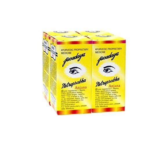 Jiwadaya Ayurvedic Netraprabha Anjana / Herbal Eye Drops - Large - 15Ml - 4 Bottles