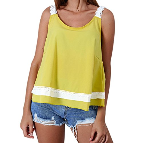 Price comparison product image Women Tank Tops, Ankola Women Summer Sleeveless Tank Tops Casual Vest Top Camisole Shirts Backless Tee Blouse with Bandage Behind (L,  Yellow)
