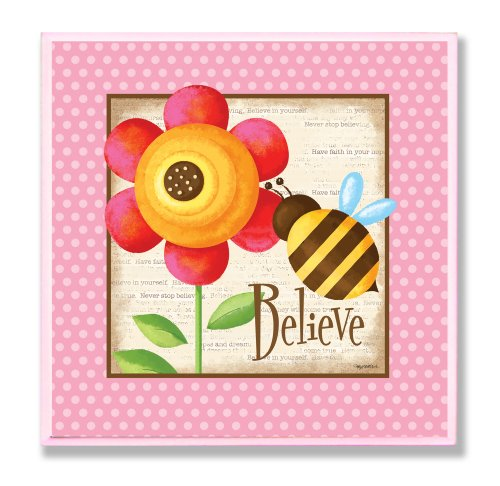 The Kids Room by Stupell Believe Bumblebee and Flower Square Wall Plaque