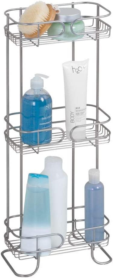 iDesign Neo Estantería, mueble de baño autónomo en metal, con tres estantes de ducha para gel y champú, plateado, 16.0 Cm X 24.9 Cm X 66.3 Cm