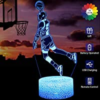MELAO Basketball 3D Led Illusion Lamp Slam Dunk Night Light