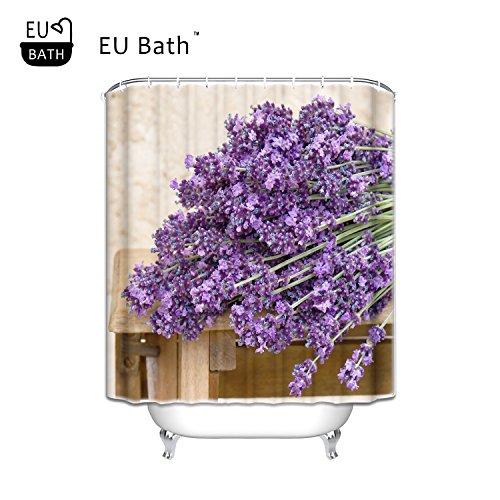 - EU Bath Bouquet of Purple Lavender Flowers Waterproof Bathroom Fabric Shower Curtain 72