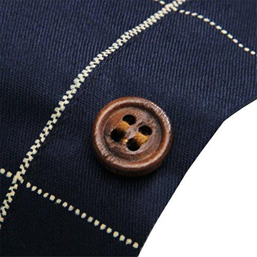 LOCALMODE Men's Cotton Long Plaid Fit Button Shirt,Navy Blue,Large