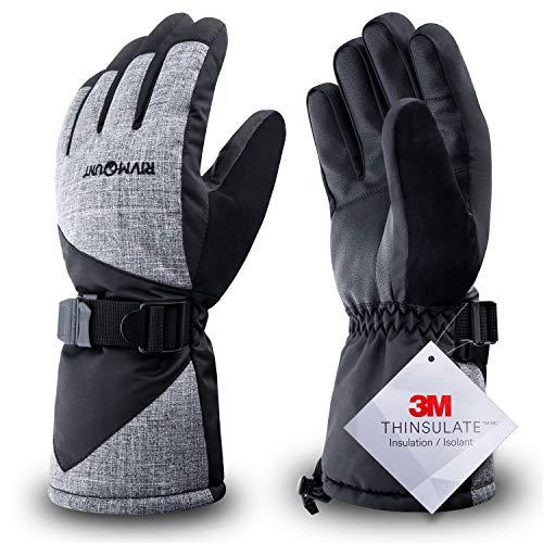 RIVMOUNT Winter Ski Gloves for Men Women,3M Thinsulate Keep Warm Waterproof Gloves for Cold Weather Outside RSG601(Black&Grey L) (Best Ski Gloves Under 50)