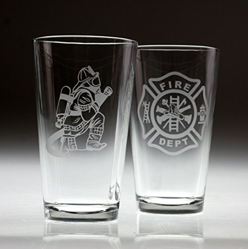 Engraved Firefighter & Maltese Cross Set Etched Pint Glass (2 ()