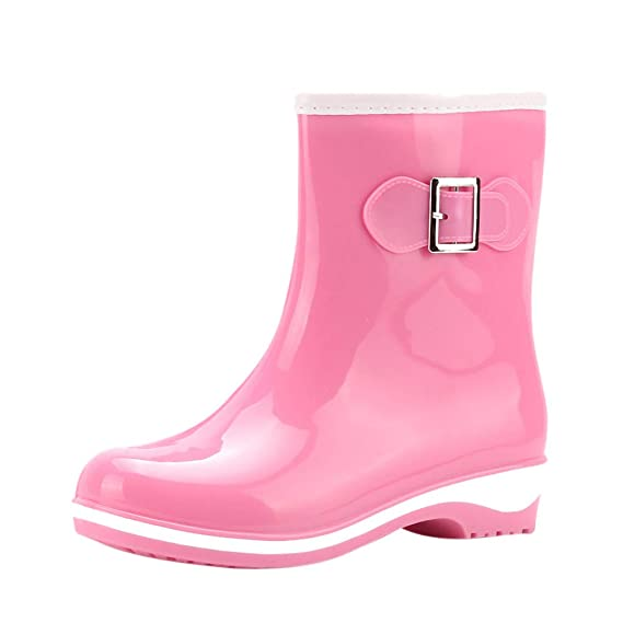 WelliesDorical Damen Gummistiefel 11cm Tall Gloss Waterproof Fashion Halbschaft Regenstiefel Rain Boots Middle Heels Wasserdicht Stiefel Casual