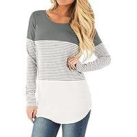 Womens Tops Casual algodón de manga larga color bloque T Camisa Túnica Blusa de Rayas por gemijack