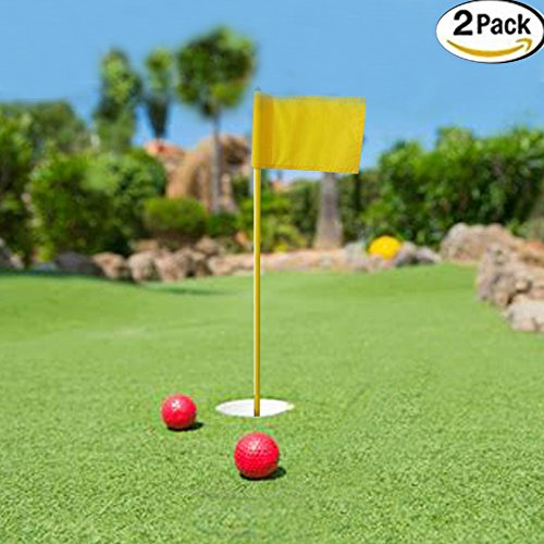Kofull Backyard Practice Golf Putting Green Flags Nylon Portable Flagstick With Cup for Yard--2 Pack (Practice Green Flag)