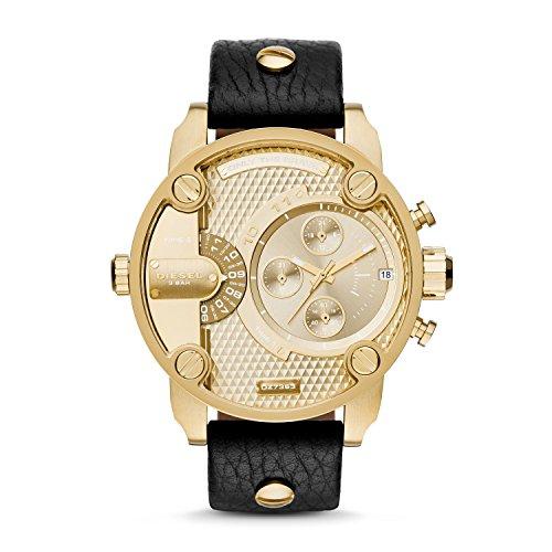 Diesel Men's DZ7363 Little Daddy Gold Black Leather Watch