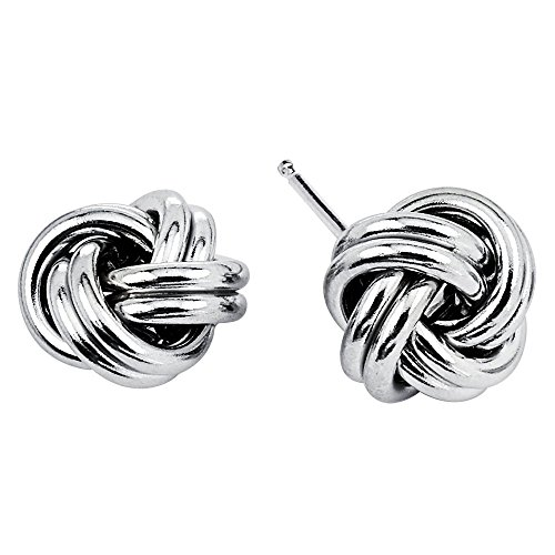 Sterling Silver Knot Earrings (925 Sterling Silver Love Knot Stud Earrings Rhodium Plated Made in Italy (10mm))
