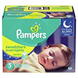 Pampers Diapers Size 5, Overnights Disposable Baby Diapers, 50 Count, Super Pack