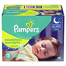 Diapers Size 5, 50 Count - Pampers Swaddlers Overnights Disposable Baby Diapers, SUPER