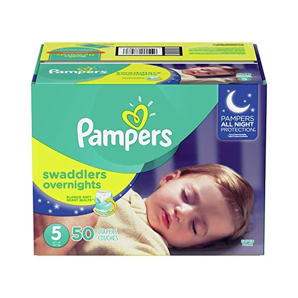 Diapers Size 5, 50 Count – Pampers Swaddlers Overnights Disposable Baby Diapers, Super Pack