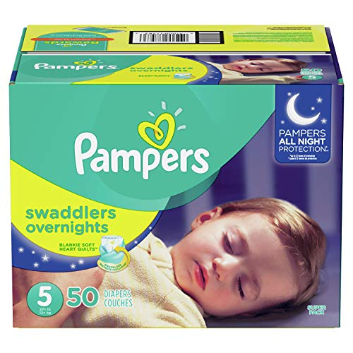 Prefold Package - Diapers Size 5, 50 Count - Pampers Swaddlers Overnights Disposable Baby Diapers, SUPER