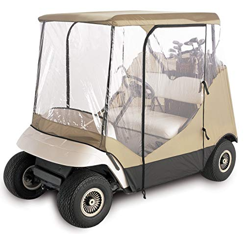 (Classic Accessories Fairway Travel 4-Sided 2-Person Golf Cart Enclosure, Tan (Renewed))