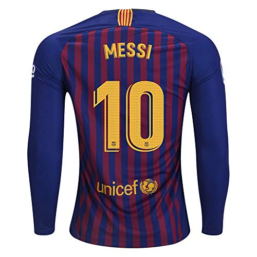 fif LS Messi 10 Barcelona Home 18/19 Jersey Color Blue Long Sleeves Size M Barcelona Home Long Sleeve