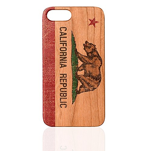 California Republic Flag UV Print Cherry Wood Cell Phone Cover Real Wood Premium Case For iPhone 6/6S (Cover Cherry Phone)