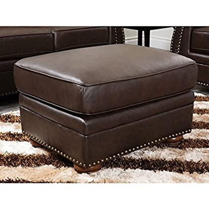 Superbe ABBYSON LIVING Richfield Top Grain Large Leather Ottoman