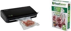 FoodSaver FM2100-000 Vacuum Sealer Machine System with Starter Bags & Rolls, Black & 11
