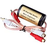 Mr. Ho 20 Amp RCA Car Audio Noise Filter Suppressor Ground Loop Isolator Transformer with 2 Male and 2 Female Plugs