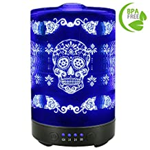 COOSA 100ML Essential Oil Diffuser Metal Skull Flower Pattern with 4 Time Setting and 7 Beautiful Color Changing LED Lights Cool Mist Humidifier for Home Office Bedroom Living Room (Skull)