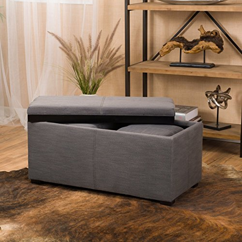 Grey 3-piece Contemporary Fabric Tray Top Nested Storage Ottoman Bench Storage (Seat Uk Wicker Cushions)