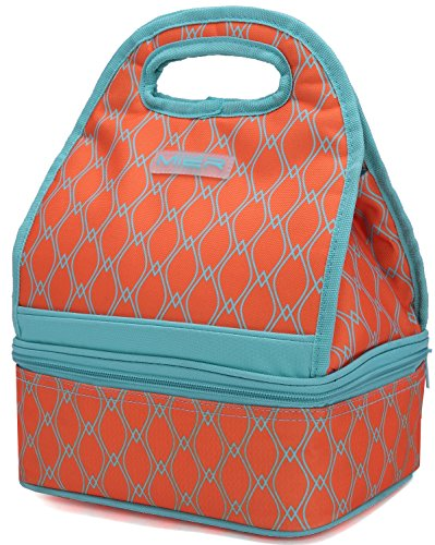 MIER Dual Compartment Insulated Lunch Box Bag Reusable Cooler Bag for Women, Kids(Orange)