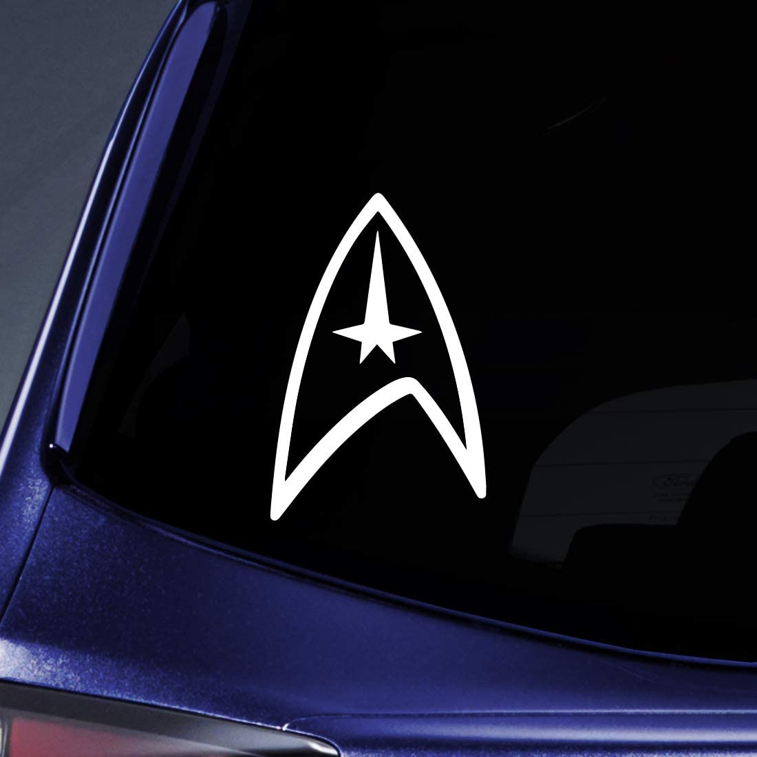 """Bargain Max Decals - Star Trek Federation - Sticker Decal Notebook Car Laptop 6"""" (White)"""