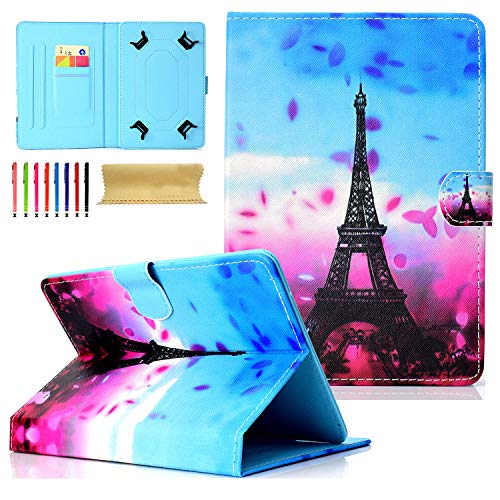 Petals Fire Hd - 8.0 inch Tablet Case, Cookk Universal Protective Case [Multi-Angle Stand] [Card Slots] PU Leather Cover for All 7.5-8.5 inch iPad Mini, Galaxy Tab A 8.0, Fire HD 8, Petal Tower