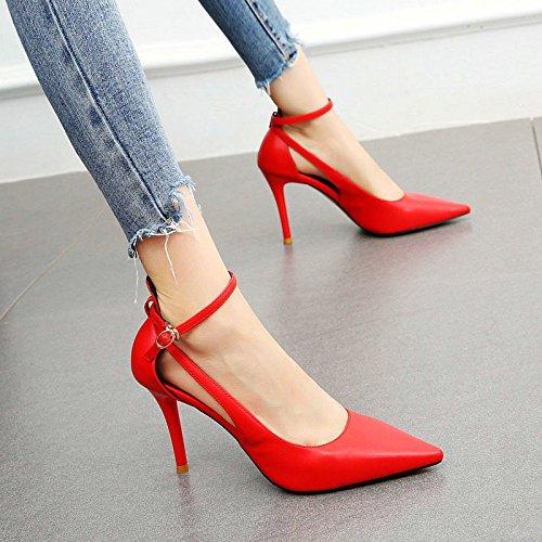 Altos Elegante Solo y Verano Tacones Femenina de Zapatos Fina B apuntadas YMFIE Sandalias Moda Simple Sexy con Temperamento eslingas P8ORwTzqtT