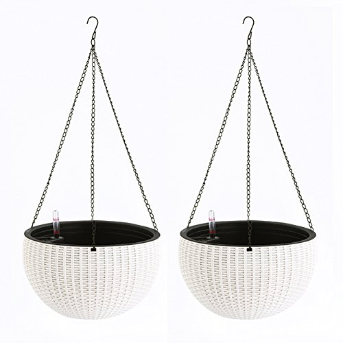 Pack of 2 Self Watering Hanging Flower Plant Pot Chain Basket Planter Holder with Water Level Gauge ()