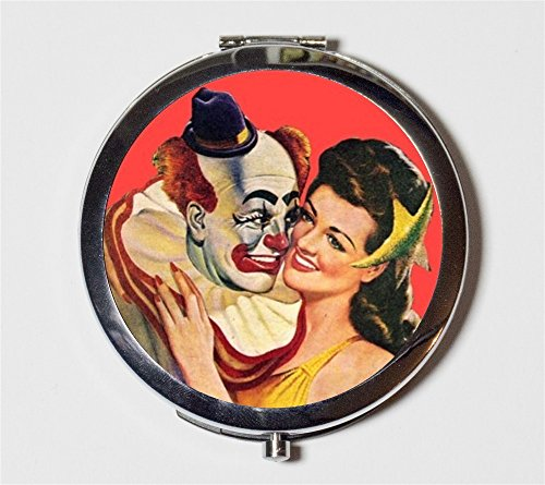Clown Romance Compact Mirror Pulp Fiction Circus Romantic Valentine