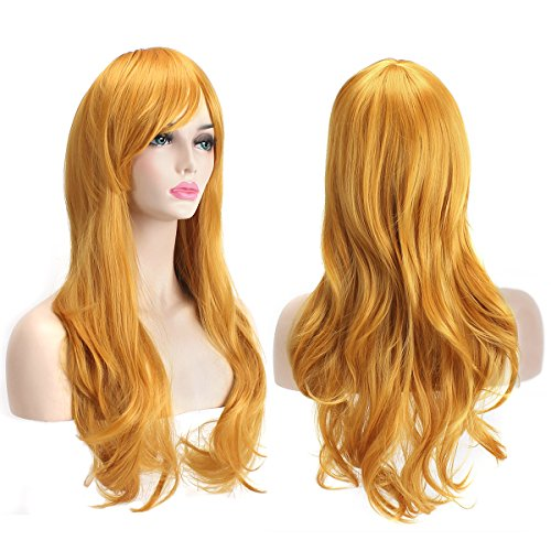 "AKStore Fashion Wigs 28"" 70cm Long Wavy Curly Hair Heat Resistant Wig Cosplay Wig For Women With Free Wig Cap (Yellow)"